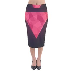 Geometric Triangle Pink Velvet Midi Pencil Skirt