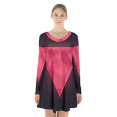 Geometric Triangle Pink Long Sleeve Velvet V Neck Dress