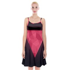 Geometric Triangle Pink Spaghetti Strap Velvet Dress