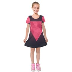 Geometric Triangle Pink Kids  Short Sleeve Velvet Dress