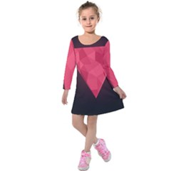 Geometric Triangle Pink Kids  Long Sleeve Velvet Dress
