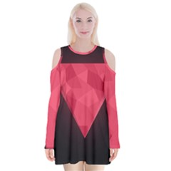Geometric Triangle Pink Velvet Long Sleeve Shoulder Cutout Dress