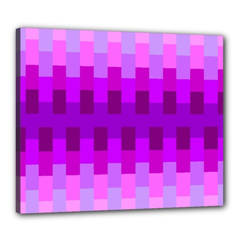 Geometric Cubes Pink Purple Blue Canvas 24  x 20