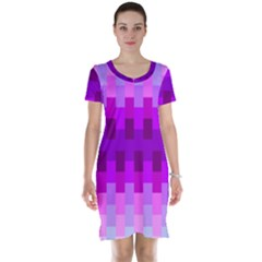 Geometric Cubes Pink Purple Blue Short Sleeve Nightdress