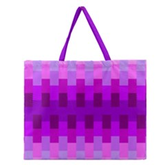 Geometric Cubes Pink Purple Blue Zipper Large Tote Bag