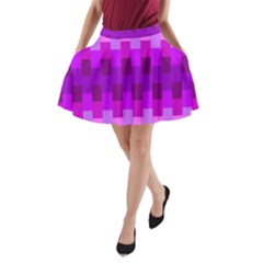 Geometric Cubes Pink Purple Blue A-Line Pocket Skirt