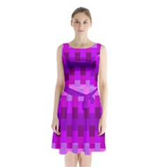 Geometric Cubes Pink Purple Blue Sleeveless Chiffon Waist Tie Dress