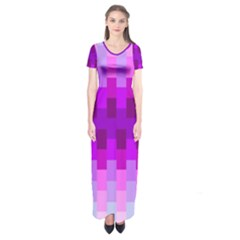 Geometric Cubes Pink Purple Blue Short Sleeve Maxi Dress