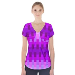 Geometric Cubes Pink Purple Blue Short Sleeve Front Detail Top