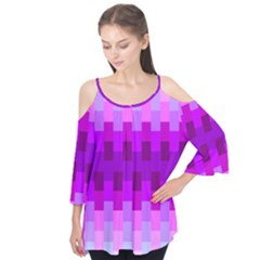 Geometric Cubes Pink Purple Blue Flutter Tees