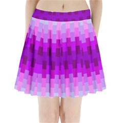 Geometric Cubes Pink Purple Blue Pleated Mini Skirt