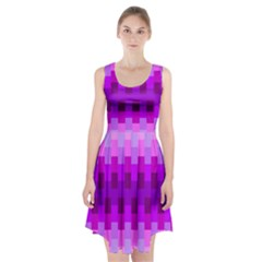 Geometric Cubes Pink Purple Blue Racerback Midi Dress