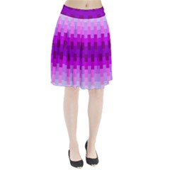 Geometric Cubes Pink Purple Blue Pleated Skirt