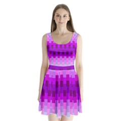 Geometric Cubes Pink Purple Blue Split Back Mini Dress