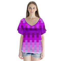 Geometric Cubes Pink Purple Blue Flutter Sleeve Top