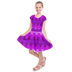 Geometric Cubes Pink Purple Blue Kids  Short Sleeve Dress