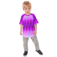 Geometric Cubes Pink Purple Blue Kids  Raglan Tee