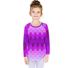 Geometric Cubes Pink Purple Blue Kids  Long Sleeve Tee