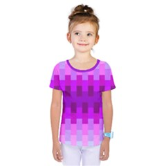 Geometric Cubes Pink Purple Blue Kids  One Piece Tee