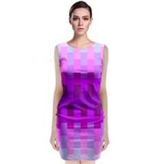 Geometric Cubes Pink Purple Blue Sleeveless Velvet Midi Dress