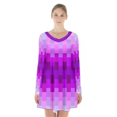 Geometric Cubes Pink Purple Blue Long Sleeve Velvet V Neck Dress