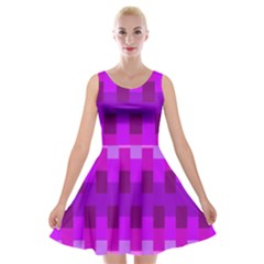 Geometric Cubes Pink Purple Blue Velvet Skater Dress