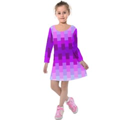 Geometric Cubes Pink Purple Blue Kids  Long Sleeve Velvet Dress