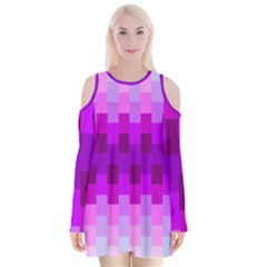 Geometric Cubes Pink Purple Blue Velvet Long Sleeve Shoulder Cutout Dress