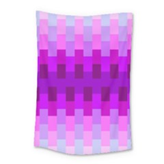 Geometric Cubes Pink Purple Blue Small Tapestry