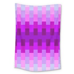 Geometric Cubes Pink Purple Blue Large Tapestry