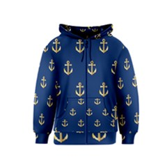 Gold Anchors Background Kids  Zipper Hoodie