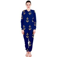 Gold Anchors Background OnePiece Jumpsuit (Ladies)