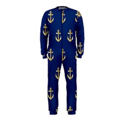 Gold Anchors Background OnePiece Jumpsuit (Kids)