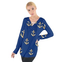 Gold Anchors Background Women s Tie Up Tee