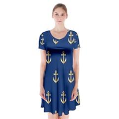Gold Anchors Background Short Sleeve V-neck Flare Dress