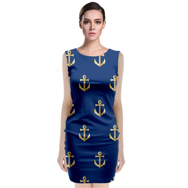 Gold Anchors Background Classic Sleeveless Midi Dress