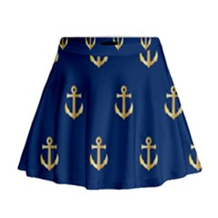 Gold Anchors Background Mini Flare Skirt