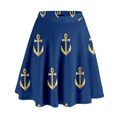 Gold Anchors Background High Waist Skirt
