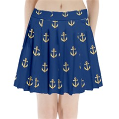 Gold Anchors Background Pleated Mini Skirt