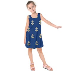 Gold Anchors Background Kids  Sleeveless Dress