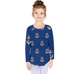 Gold Anchors Background Kids  Long Sleeve Tee