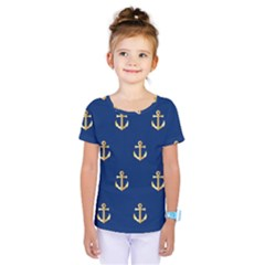 Gold Anchors Background Kids  One Piece Tee