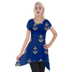 Gold Anchors Background Short Sleeve Side Drop Tunic