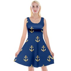 Gold Anchors Background Reversible Velvet Sleeveless Dress