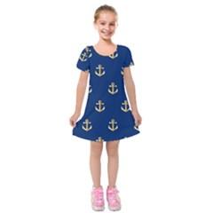 Gold Anchors Background Kids  Short Sleeve Velvet Dress