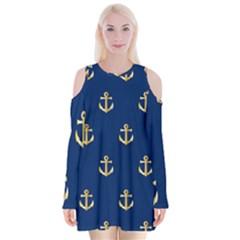 Gold Anchors Background Velvet Long Sleeve Shoulder Cutout Dress