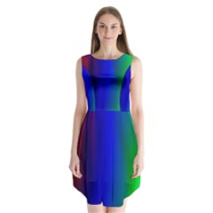 Graphics Gradient Colors Texture Sleeveless Chiffon Dress