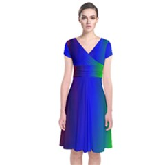 Graphics Gradient Colors Texture Short Sleeve Front Wrap Dress