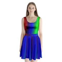 Graphics Gradient Colors Texture Split Back Mini Dress