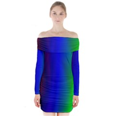 Graphics Gradient Colors Texture Long Sleeve Off Shoulder Dress